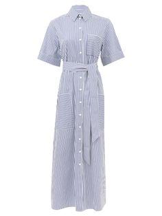 Striped cotton-poplin shirt dress | Cefinn | MATCHESFASHION Striped Shirt Dress, Dress Shirts For Women, Fashion Gallery, Navy Women, Poplin, Navy And White, Shirt Blouses, Wrap Dress, Summer Outfits
