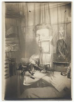 Jan Matulka, Double exposed photo of Matulka in his studio, c. 1920