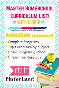 "The ultimate homeschool curriculum list is here! WITH LINKS! Your one stop click 'n' shop! Come and browse for your curriculum needs! If you read my How to Start Homeschooling post you might be wondering ""what's next?"" You know what school you want to go with, you know"