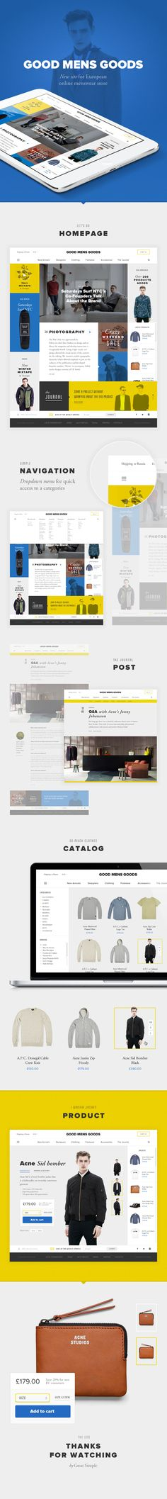 Good Mens Goods Website by Great Simple → more on designvertise.com