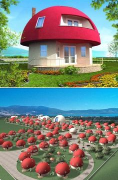 Unique Mushroom shaped Holiday Homes located at Akbuk Bay, Altinkum, Turkey. The entire vacation village will be made up of mushroom-like homes.