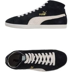 Puma Sneakers (1,710 MXN) ❤ liked on Polyvore featuring shoes, sneakers, black, round toe sneakers, leather shoes, black trainers, black shoes and black sneakers