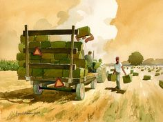 Bucking Hay . agricultural illustration