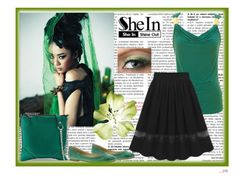 """Black Chiffon Skirt - Shein"" by azraa91 ❤ liked on Polyvore featuring Frye and gx by Gwen Stefani"