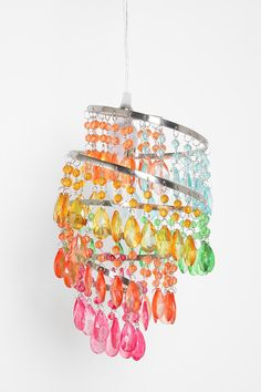 ROYGBIV Rainbow Spiral Chandelier      $59.99(Was $99.00)    SKU #21068515    Overview:  * Vintage-inspired decorative chandelier  * 4 spiraling metal tiers  * Strands of clear colored crystal beads in differing sizes