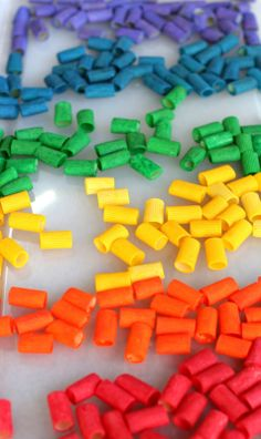 DIY Rainbow Pasta for Necklaces, Sensory Play, and Art from Fun at Home with Kids. Great ideas at school or at home. Craft Activities For Kids, Toddler Activities, Projects For Kids, Preschool Activities, Indoor Activities, Sabbath Activities, Babysitting Activities, Creative Activities, Toddler Fun