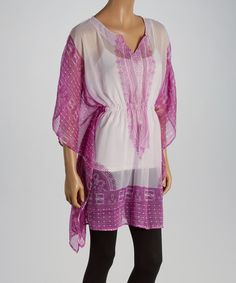 Another great find on #zulily! Purple & White Color Block Notch Neck Tunic #zulilyfinds