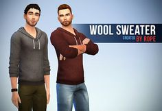 My Sims 4 Blog: Wool Sweaters for Teen - Elder Males by Rope