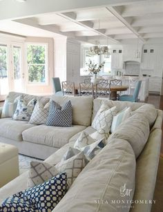 Style {Happy Independence Day Coastal Style Living Room - Sita Montgomery - Click through for more beautiful coastal rooms!Coastal Style Living Room - Sita Montgomery - Click through for more beautiful coastal rooms! Coastal Living Rooms, Living Room Pillows, Home Living Room, Living Room Designs, Living Room Decor, Living Spaces, Coastal Cottage, Coastal Decor, Coastal Homes