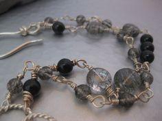 Tourmalinated Quartz Bracelet by StrawberryFrog on Etsy, $89.00