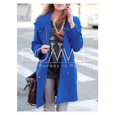 Blue Long Sleeve Lapel Zipper Coat (£18) ❤ liked on Polyvore featuring outerwear, coats, blue coat, long sleeve coat, zip coat, zipper coat y lapel coat