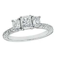 1-1/4 Ct Radiant-Cut D/VVS1 Three Stone Engagement Ring In 10K White Gold # With Free Stud Earrings by JewelryHub on Opensky