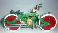 Meccano model page 68 Meccano Motor Cycle and sidecar Hobby Toys, Rubber Rings, Belt Drive, Sidecar, Boat Building, The Balloon, Om, Cycling, Hobbies