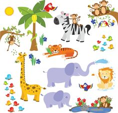 Fun Animals for Kids Rooms and Nursery - Easy Peel Stickers