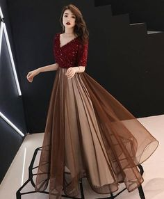 Burgundy sequin tulle long prom dress, burgundy evening dress, Shop plus-sized prom dresses for curvy figures and plus-size party dresses. Ball gowns for prom in plus sizes and short plus-sized prom dresses for Dresses Elegant, Pretty Dresses, Sexy Dresses, Beautiful Dresses, Casual Dresses, Prom Dresses, Formal Dresses, Hijab Prom Dress, Bridesmaid Dresses