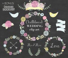 Chalkboard Wedding Floral clipart, Digital Wreath, Floral Frames, Flowers, floral elements, banner, birds, laurel, arrows on Etsy, $4.99