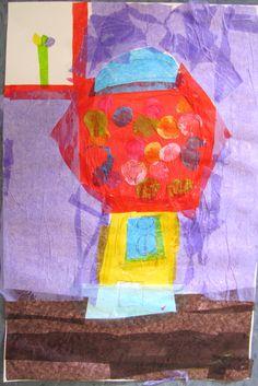 Wayne Thiebaud inspired - tissue paper and glue.
