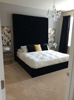 Ideas Bedroom Black Gold White Color Schemes - All About Decoration White Bedroom Design, White Bedroom Decor, Black Bedroom Furniture, Glam Bedroom, Home Bedroom, Bedroom Ideas, Bedroom Inspo, Master Bedroom, Bedroom Retreat