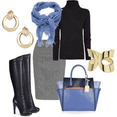Black, Grey, Gold, Purple, Periwinkle - Fall / Winter Work Outfit - Light Spring Colors