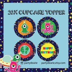 Alien Cupcake Topper, Alien Monster Cake Topper, Alien UFO Party Decor, Alien Monster Birthday Printable,
