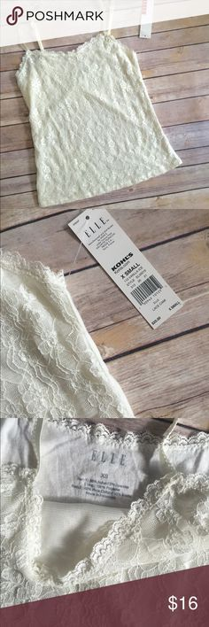 XS Elle Lace Camisole Tank - Ivory NWT XS Elle Lace Tank with adjustable straps. The back is plain. Elle Tops Camisoles