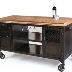 Industrial Home Bar Reclaimed Wood, Coffee Cart, Mini Bar, Wine Cabinet, Kitchen Island, Bar Cart by Justin Real