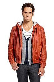 'Jonger' | Sheepskin Hooded Leather Jacket #bossorange
