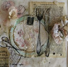 inspirational textures created by a combination of drawing, printing, machine stitch and collage. Additional trinkets and memorabilia including buttons, pearls, stamps and storybook pages