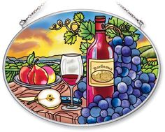 Amia Hand Painted Glass Suncatcher with Wine Country Design, 5-1/4-Inch by 7-Inch Oval by Amia. $19.00. Includes chain. Handpainted glass. Comes boxed, makes for a great gift. Amia glass is a top selling line of handpainted glass decor. Known for tying in rich colors and excellent designs, Amia has a full line of handpainted glass pieces to satisfy your decor needs. Items in the line range from suncatchers, window decor panels, vases, votives and much more.