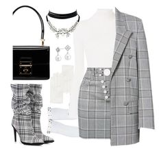 """plaid plaid plaid"" by petite-pomme-de-terre ❤ liked on Polyvore featuring RED Valentino, Off-White, See by Chloé, Alexander Wang, Blue Nile, Dolce&Gabbana and WithChic"
