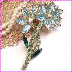 Aquamarine Crystal Pin Givre Flower Brooch Vintage 1950s Jewelry (12750) $85