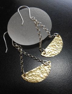 Mixed Metal Jewelry - Half Moon Earrings - SWING SWING. via Etsy.