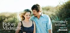 "Newsweek calls Before Midnight ""stunningly brilliant!"" Don't miss Ethan Hawke and Julie Delpy in theaters now! Julie Delpy, In Theaters Now, Ethan Hawke, Before Midnight, Films, Movies, Cinema, Couple Photos, Couples"