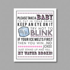 Love this! and you can customize to any color!! Pink My Water Broke Game Printable for Baby Shower 5x7 & 8x10 PDF