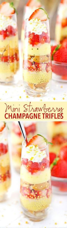 Mini Strawberry Champagne Trifle - layers of champagne custard, cookies and strawberries! SO good! Great for Valentine's Day!
