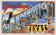 Galveston, Texas Post Card - would make a great addition to your scrap book pages!