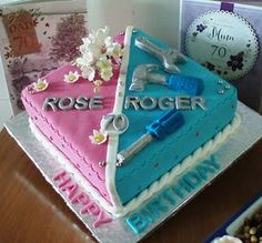 Image result for joint 70th birthday cake pink blue