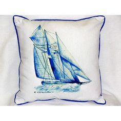 Betsy Drake Interiors Sailboat Indoor/Outdoor Throw Pillow