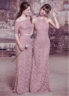 Buy discount Charming Lace Off-the-shoulder Neckline Two-Piece Sheath Bridesmaid Dress at Dressilyme.com
