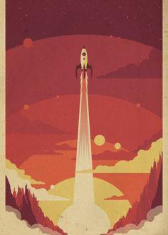 voyage space scifi rocket rocketship atomic sky Vintage ...