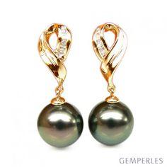 Boucles oreilles perles noires - Perle de Tahiti - Or jaune - Diamants sertis rails