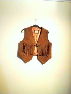 Vintage Women's Brown Leather Steer Brand Texan Fringe Vest / Size L / Motor Cycle Vest / Hippie / Southwestern / Boho Chic / Festival Vest by JulesCristenVintage on Etsy