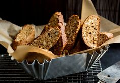 awesomely simple biscotti recipe. somehow, it's the only I've tried that uses brown sugar, which lends a lovely molasses-y flavor to the biscotti. throw in 100 (+/- 50) grams of almonds and I'm sold. still have to perfect my log-shaping skills, though...
