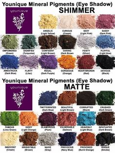 Younique Mineral Pigment (eye shadow) Color Chart