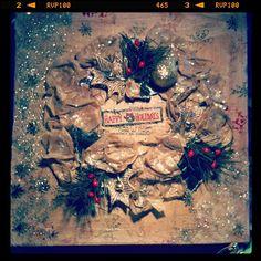 mixed media christmas wreath canvas