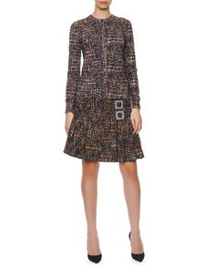 Button-Down Printed Tweed Cardigan, Sleeveless Printed Tweed Sweater & Double Crystal Buckle Tweed A-Line Skirt by Dolce & Gabbana at Bergdorf Goodman.