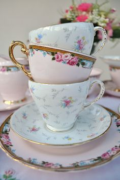 pink bone china tea cups
