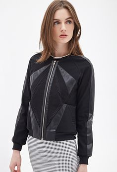 Forever 21 - Faux Leather & Mesh Jacket. Mesh detailing, faux leather accents, and a zippered front.