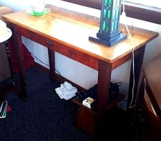 Vintage TABLE Arts and Crafts Hallway Side Table Desk w/Drawer tapered legs #ArtsCraftsMissionStyle