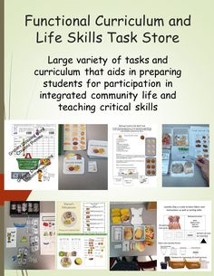 Store for all your functional curriculum and life skill task needs.